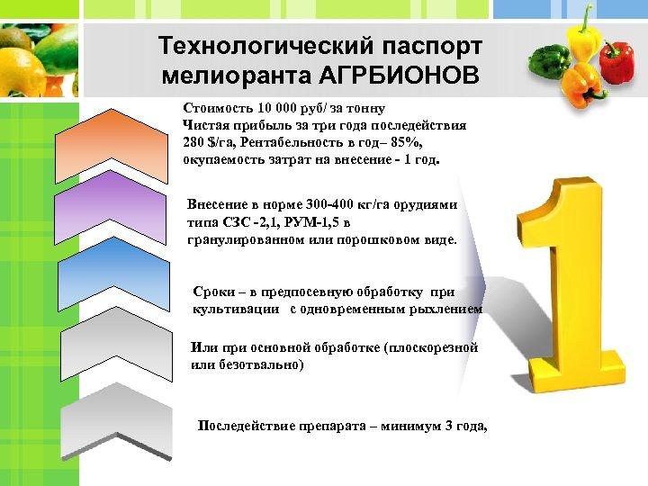Технологический паспорт мелиоранта АГРБИОНОВ Стоимость 10 000 руб/ за тонну Чистая прибыль за три