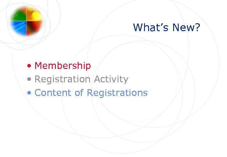 What's New? • Membership • Registration Activity • Content of Registrations
