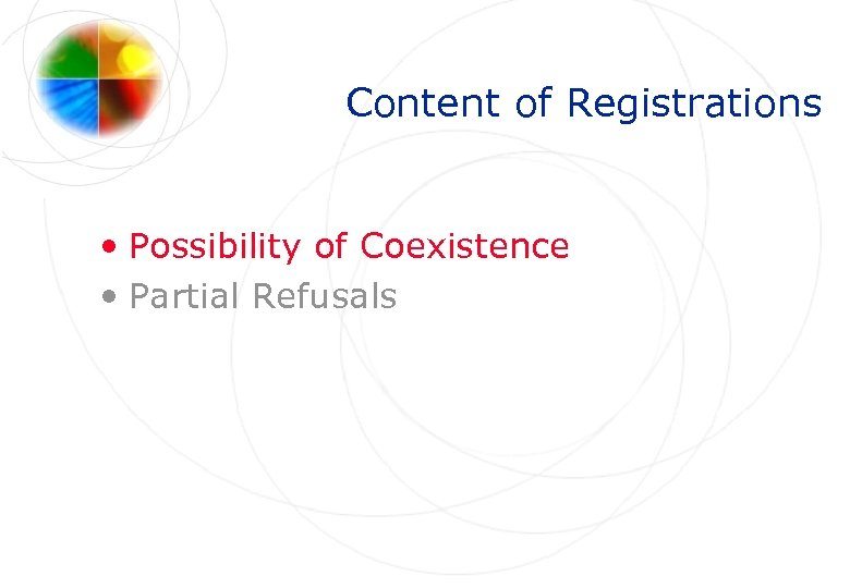 Content of Registrations • Possibility of Coexistence • Partial Refusals