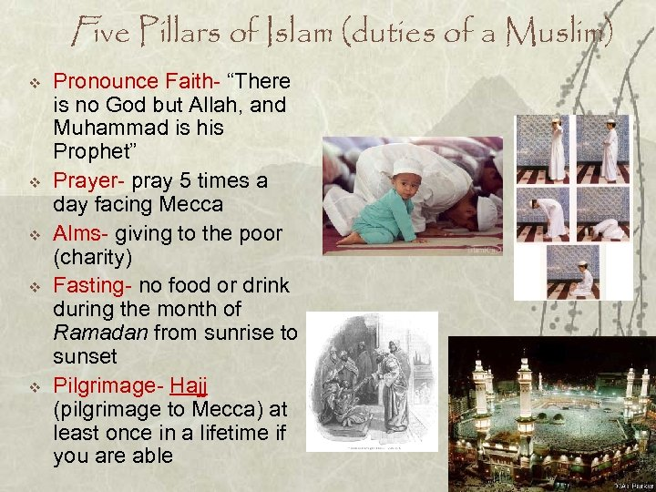 "Five Pillars of Islam (duties of a Muslim) v v v Pronounce Faith- ""There"