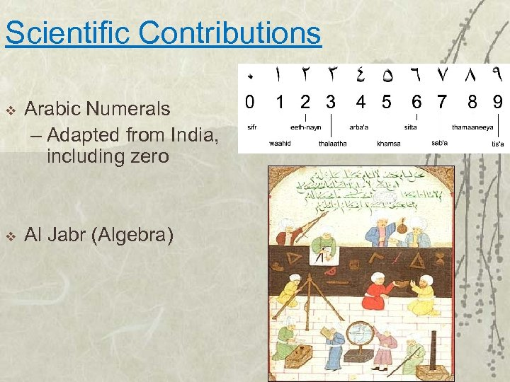 Scientific Contributions v Arabic Numerals – Adapted from India, including zero v Al Jabr