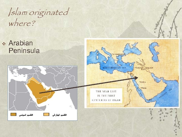 Islam originated where? v Arabian Peninsula