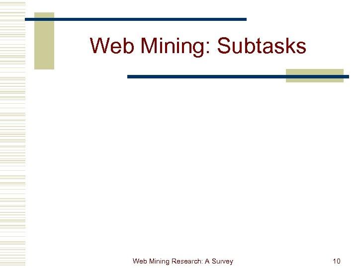 Web Mining: Subtasks Web Mining Research: A Survey 10