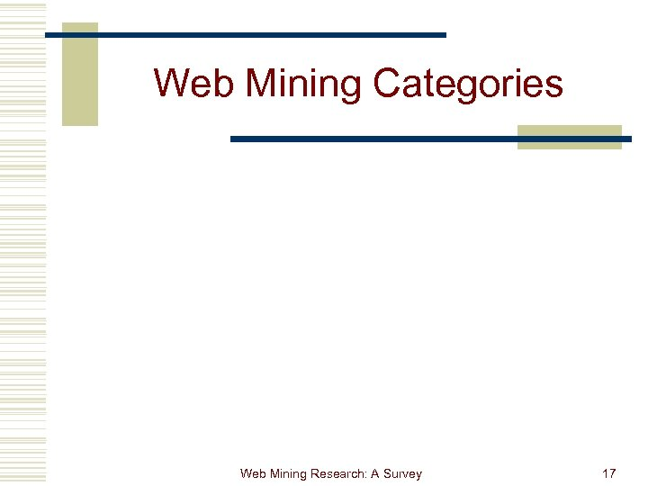 Web Mining Categories Web Mining Research: A Survey 17