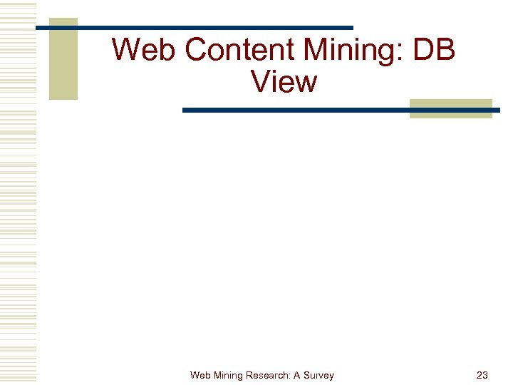 Web Content Mining: DB View Web Mining Research: A Survey 23