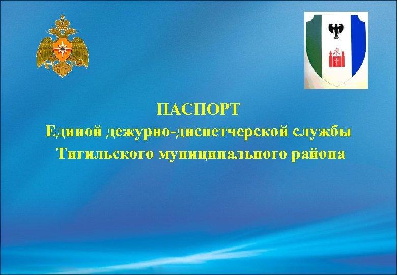 ПАСПОРТ Единой дежурно-диспетчерской службы Тигильского муниципального района
