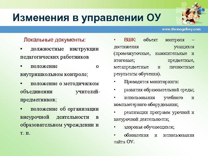 Изменения в управлении ОУ www. themegallery. com Локальные документы: • должностные инструкции педагогических работников