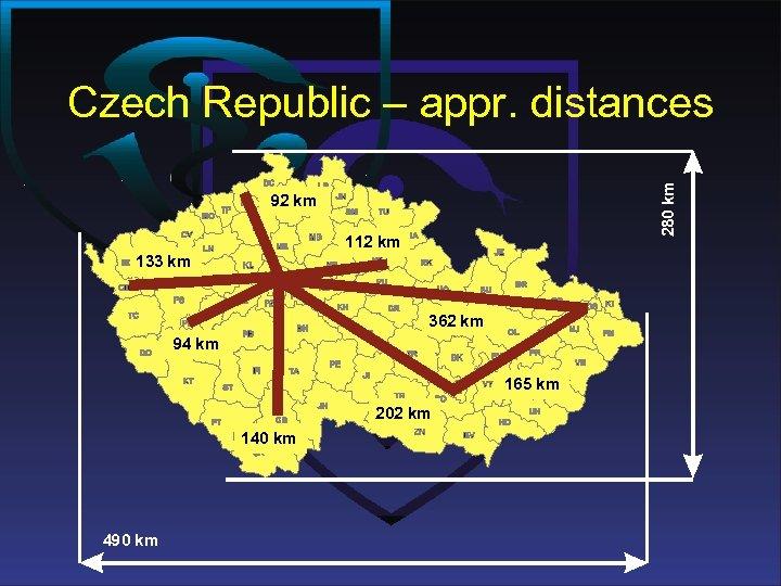 280 km Czech Republic – appr. distances 92 km 112 km 133 km 362