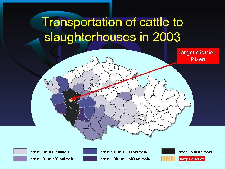 Transportation of cattle to slaughterhouses in 2003 target district: Plzen from 1 to 100