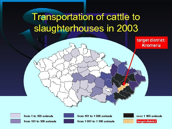 Transportation of cattle to slaughterhouses in 2003 target district: Kromeriz from 1 to 100