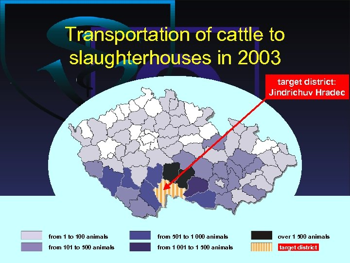 Transportation of cattle to slaughterhouses in 2003 target district: Jindrichuv Hradec from 1 to