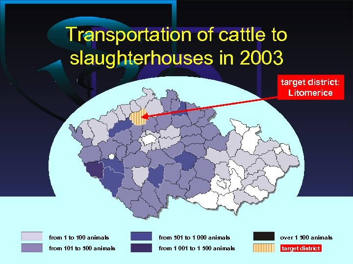 Transportation of cattle to slaughterhouses in 2003 target district: Litomerice from 1 to 100
