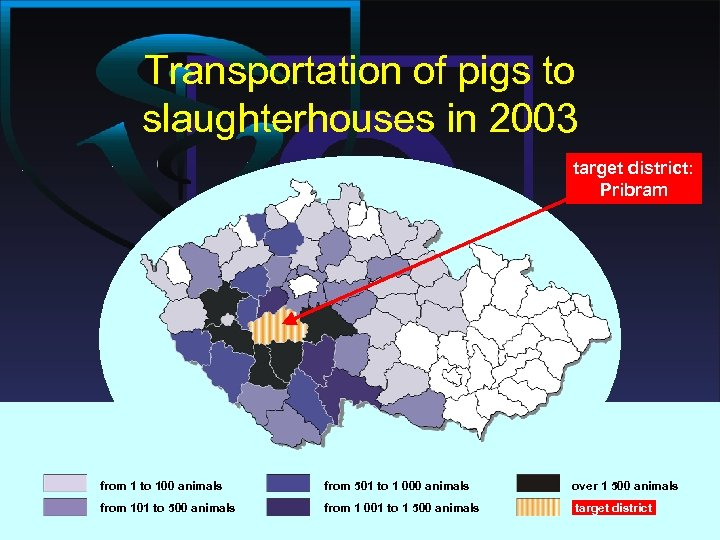 Transportation of pigs to slaughterhouses in 2003 target district: Pribram from 1 to 100
