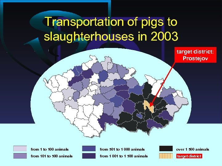 Transportation of pigs to slaughterhouses in 2003 target district: Prostejov from 1 to 100