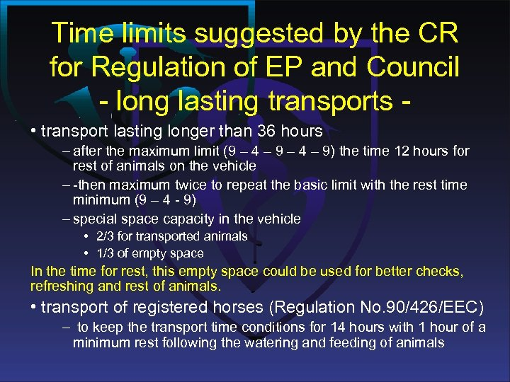 Time limits suggested by the CR for Regulation of EP and Council - long