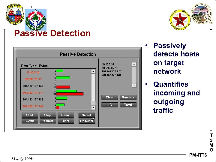 Passive Detection • Passively detects hosts on target network • Quantifies incoming and outgoing