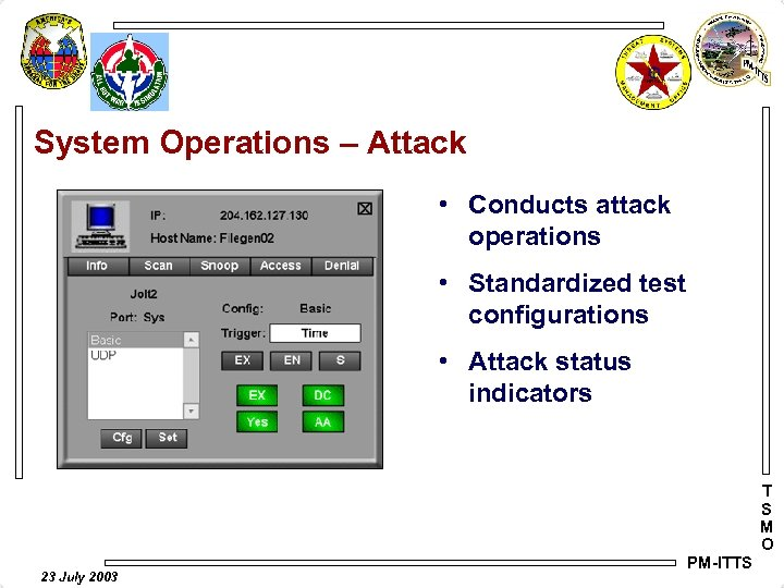System Operations – Attack • Conducts attack operations • Standardized test configurations • Attack