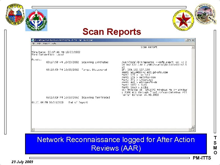 Scan Reports Network Reconnaissance logged for After Action Reviews (AAR) 23 July 2003 PM-ITTS