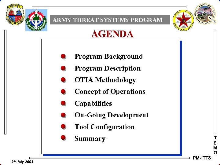 ARMY THREAT SYSTEMS PROGRAM AGENDA Program Background Program Description OTIA Methodology Concept of Operations
