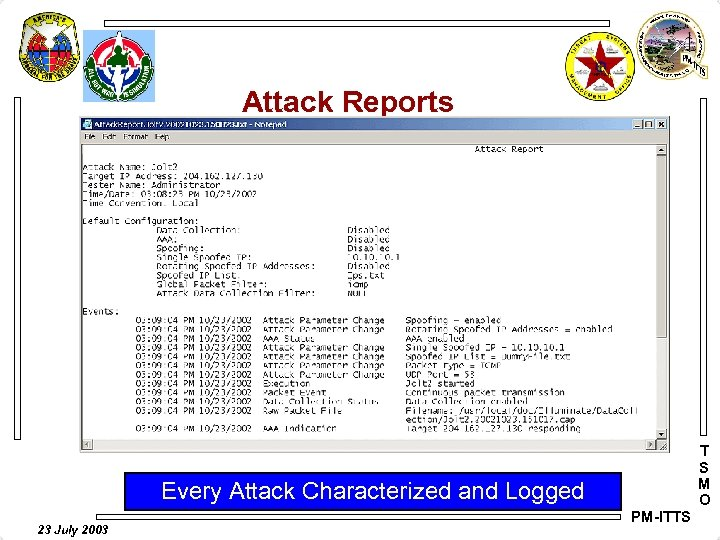 Attack Reports T S M O Every Attack Characterized and Logged 23 July 2003