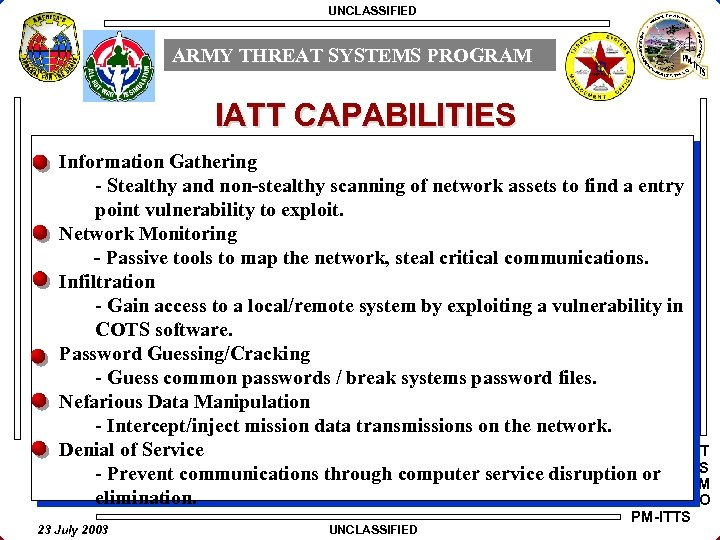 UNCLASSIFIED ARMY THREAT SYSTEMS PROGRAM IATT CAPABILITIES Information Gathering - Stealthy and non-stealthy scanning