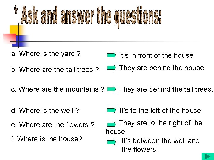 a, Where is the yard ? It's in front of the house. b, Where