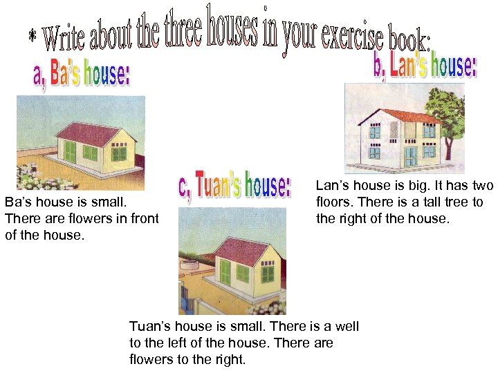 Ba's house is small. There are flowers in front of the house. Lan's house