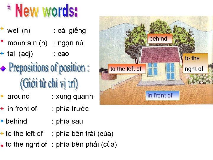 well (n) : cái giếng behind mountain (n) : ngọn núi tall (adj) :