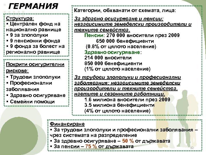 ГЕРМАНИЯ Структура: § Централен фонд на национално равнище § 9 за злополуки § 9
