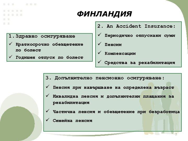 ФИНЛАНДИЯ 2. An Accident Insurance: 1. Здравно осигуряване ü Периодично отпускани суми ü Краткосрочно