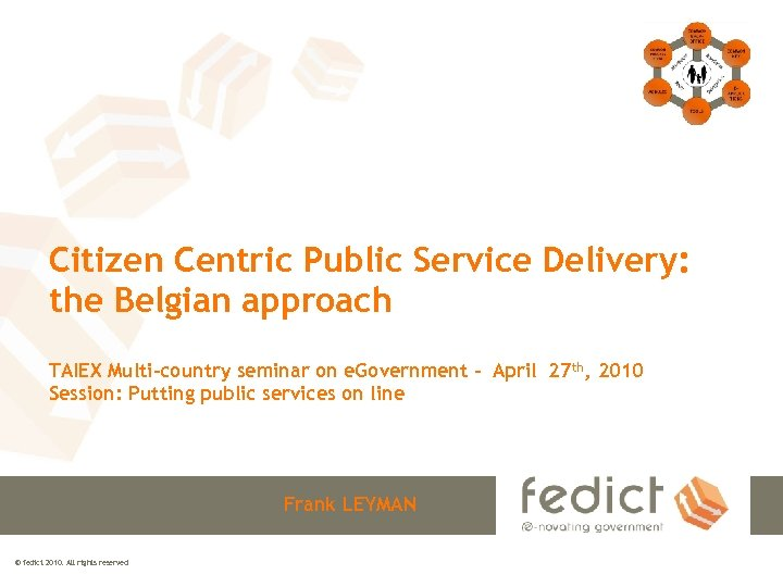 Citizen Centric Public Service Delivery: the Belgian approach TAIEX Multi-country seminar on e. Government