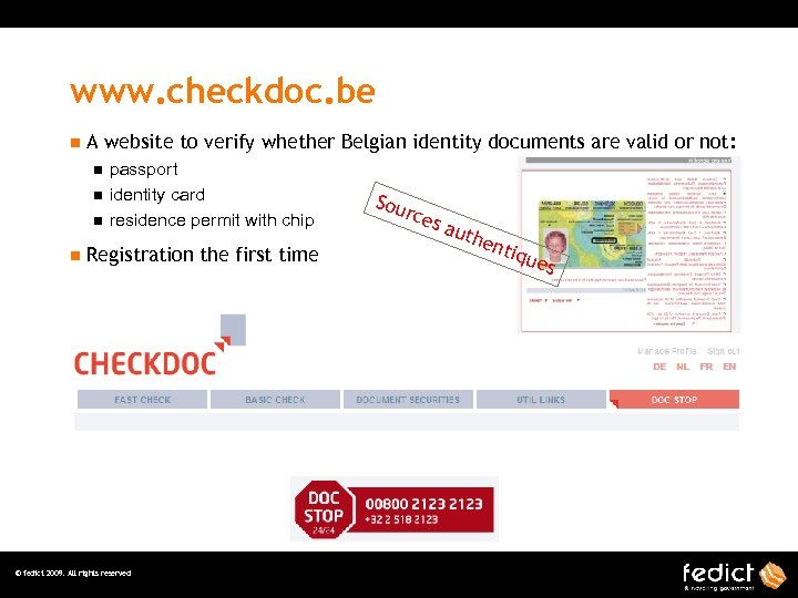 www. checkdoc. be n A website to verify whether Belgian identity documents are valid