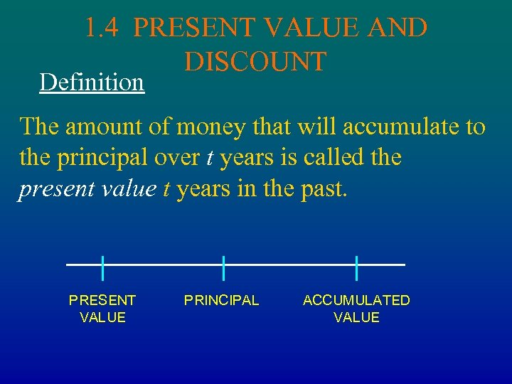 1. 4 PRESENT VALUE AND DISCOUNT Definition The amount of money that will accumulate