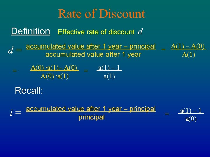 Rate of Discount Definition d= = Effective rate of discount d accumulated value after