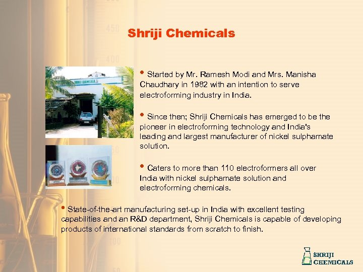 Shriji Chemicals • Started by Mr. Ramesh Modi and Mrs. Manisha Chaudhary in 1982