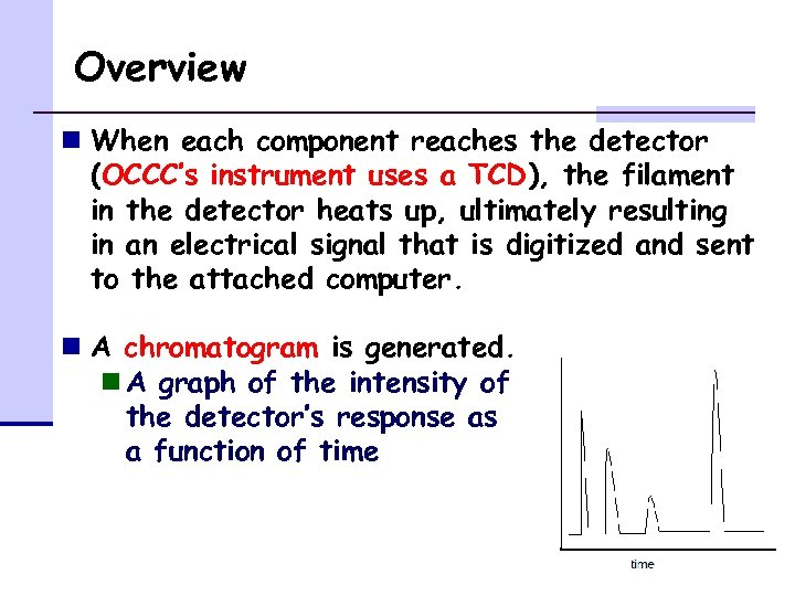 Overview n When each component reaches the detector (OCCC's instrument uses a TCD), the