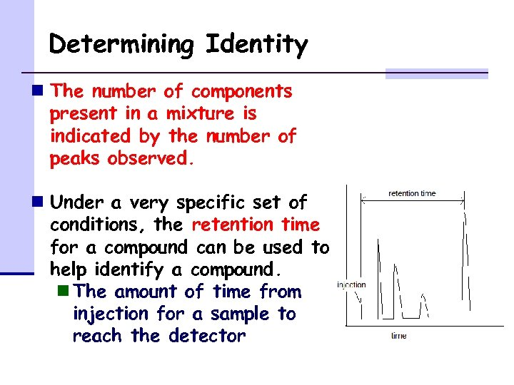 Determining Identity n The number of components present in a mixture is indicated by