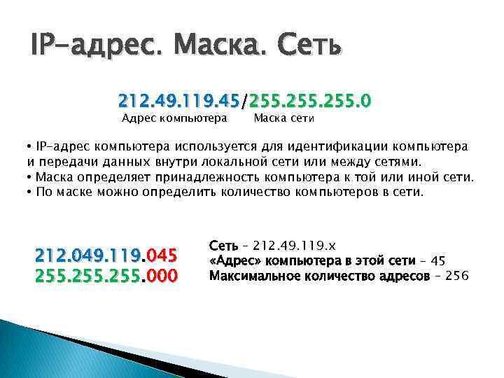 IP-адрес. Маска. Сеть 212. 49. 119. 45/255. 0 Адрес компьютера Маска сети • IP-адрес