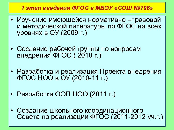 1 этап введения ФГОС в МБОУ «СОШ № 196» • Изучение имеющейся нормативно –правовой