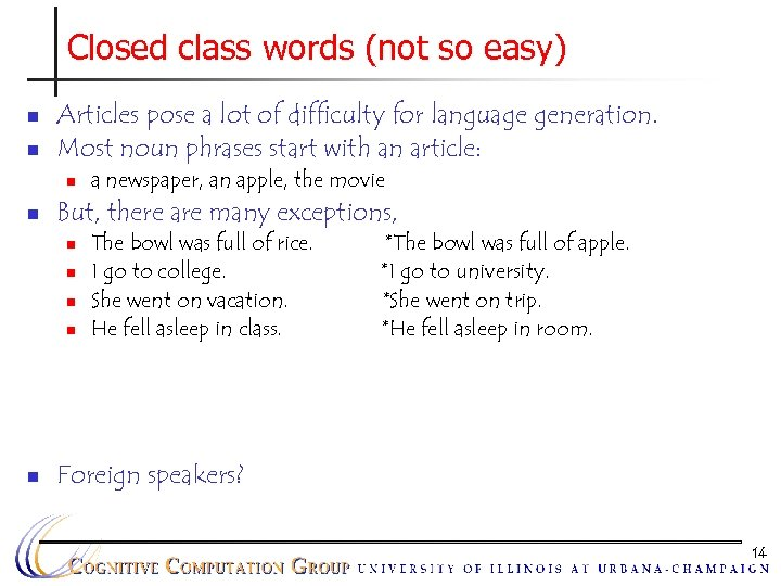 Closed class words (not so easy) n n Articles pose a lot of difficulty