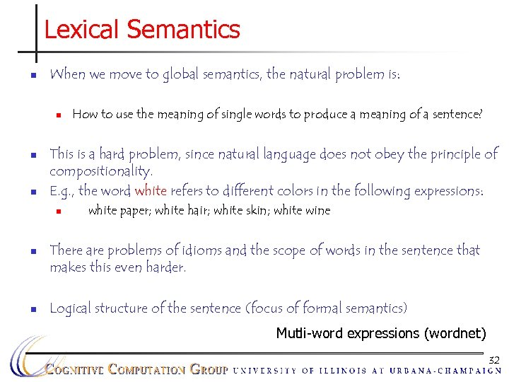 Lexical Semantics n When we move to global semantics, the natural problem is: n