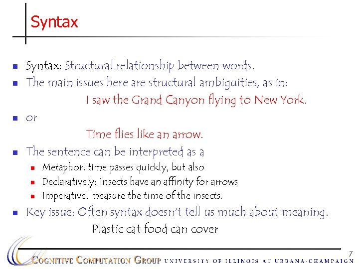 Syntax n n Syntax: Structural relationship between words. The main issues here are structural