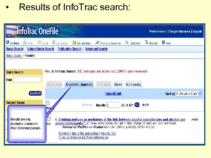 • Results of Info. Trac search: