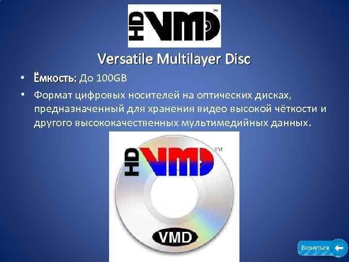 Versatile Multilayer Disc • Ёмкость: До 100 GB Ёмкость: • Формат цифровых носителей на