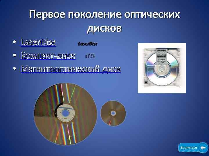 Первое поколение оптических дисков • Laser. Disc • Компакт-диск • Магнитооптический диск