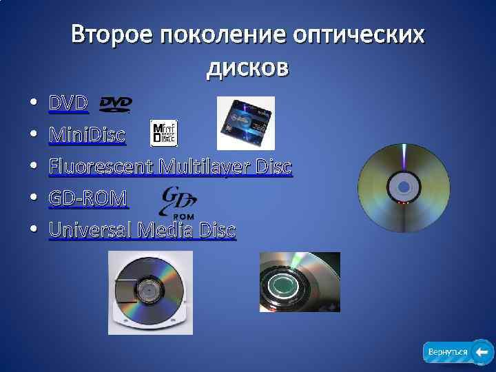 Второе поколение оптических дисков • • • DVD Mini. Disc Fluorescent Multilayer Disc GD-ROM