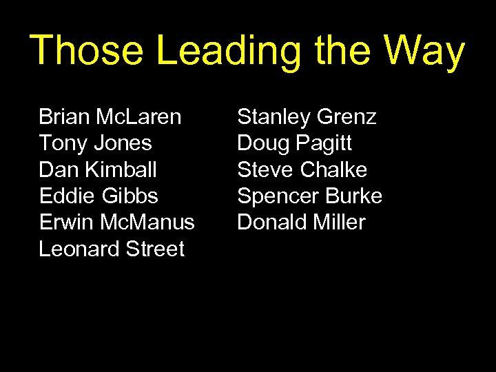 Those Leading the Way Brian Mc. Laren Tony Jones Dan Kimball Eddie Gibbs Erwin