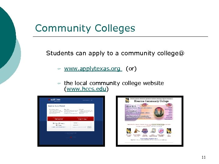 Community Colleges Students can apply to a community college@ F www. applytexas. org (or)
