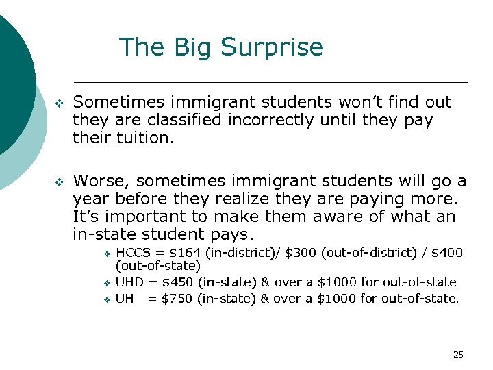 The Big Surprise v Sometimes immigrant students won't find out they are classified incorrectly