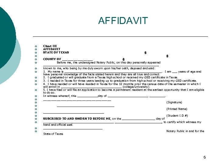 AFFIDAVIT ¡ ¡ ¡ ¡ ¡ ¡ Chart III AFFIDAVIT STATE OF TEXAS §